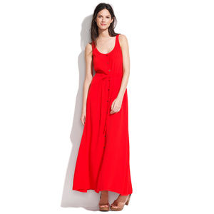 Madewell red button front maxidress